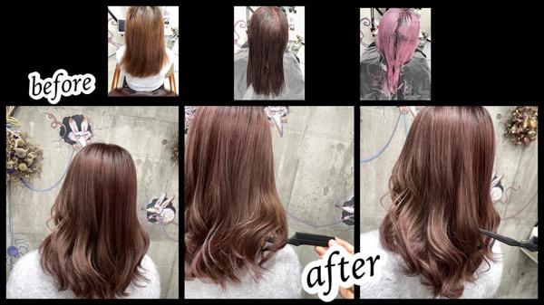 大阪豊中カラトリでピンクラベンダーをカラー剤とカラートリートメントで再現したら綺麗すぎた!【まうさん】の髪