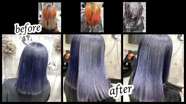 大阪豊中カラトリで濃いめブルーラベンダーでムラを治してお洒落外国人風カラー【めぐみさん】の髪
