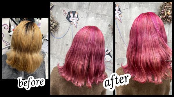 大阪豊中カラトリでブリーチからのピンクカラーをカラートリートメントで再現【りなさん】の髪