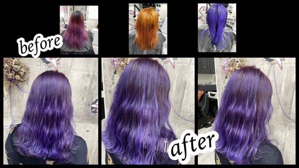 大阪豊中カラトリで鮮やかパープルカラーをカラートリートメントで再現!【なつきさん】の髪