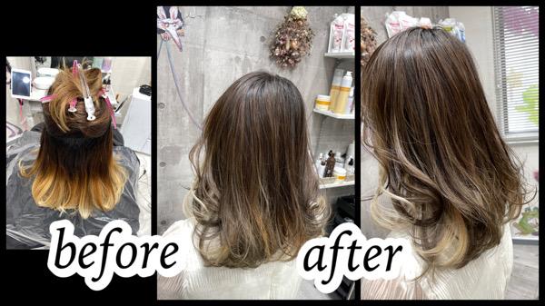大阪豊中カラトリでバレイヤージュとインナーカラーの外国人風カラーは積み重ねが大切【みきさん】の髪