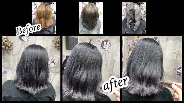 大阪豊中カラトリで白髪を染めながら透明感抜群なシルバーグレーを再現する為のダブルカラー【さちこさん】の髪