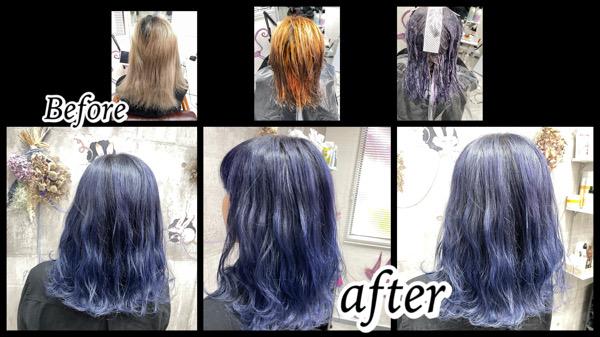 大阪豊中カラトリでブルーラベンダーをブリーチ履歴3回の髪の毛に濃厚に染めた【めぐみさん】の髪