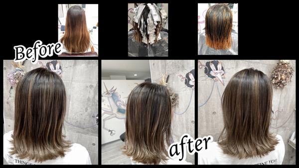 ●大阪豊中カラトリでハイライトとグラデーションベースからのミルクグレージュで外国人風カラー【りささん】の髪