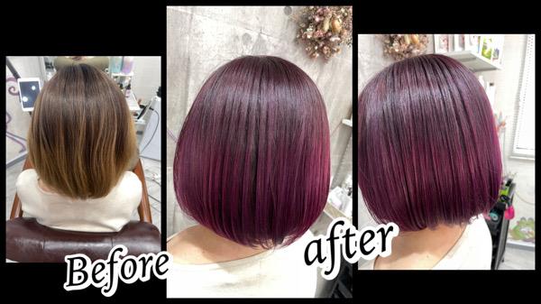 大阪豊中カラトリで鮮やかなピンクラベンダーのグラデーションカラー【みくさん】の髪