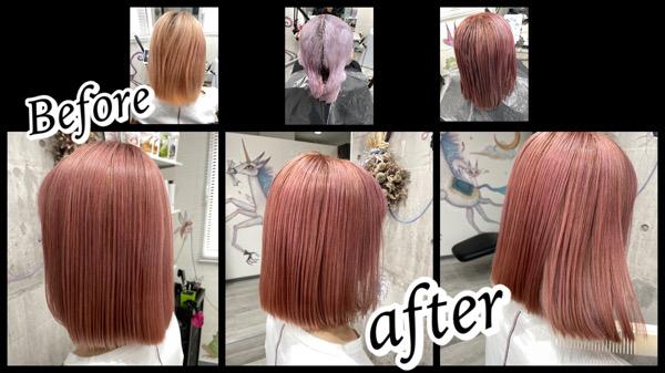 豊中でハイトーンのコーラルピンクを再現するのに必要なブリーチ回数は3回以上!【みさとさん】の髪