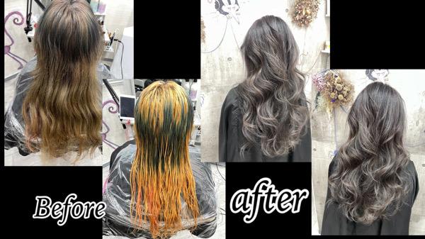 豊中でヘナの残留からの白髪をぼかすブリーチオンカラーが劇的変化【みなこさん】の髪