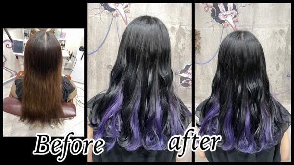 豊中でインナーカラーのラベンダーが濃厚カラーと組み合わさってお洒落【りゆさん】の髪
