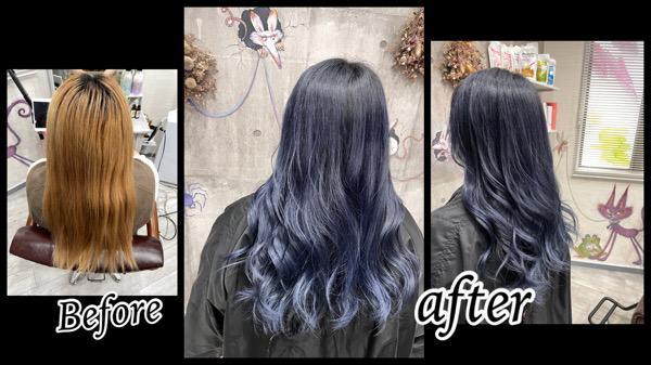 豊中で濃厚なブルーラベンダーが綺麗に染まるブリーチベースの土台【かなさん】の髪