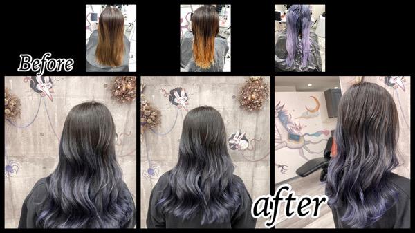 豊中でブルーラベンダーのグラデーションカラーでお洒落なデザインカラー【さやさん】の髪