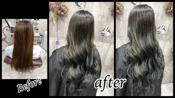 豊中でカーキグレージュを白髪を染めながら再現した外国人風カラー【さちこさん】の髪