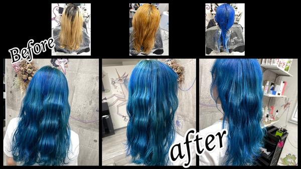 ハイブリーチの土台に鮮やかなブルーをカラートリートメントで再現したお洒落カラー【しおんさん】の髪