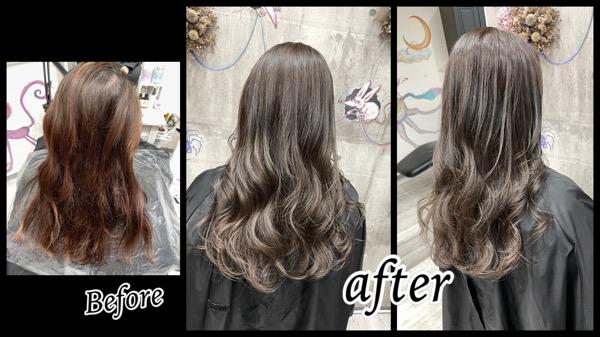 豊中で白髪を染めながら外国人風カラーにするにはダブルプロセスを積み重ねる!【りかこさん】の髪