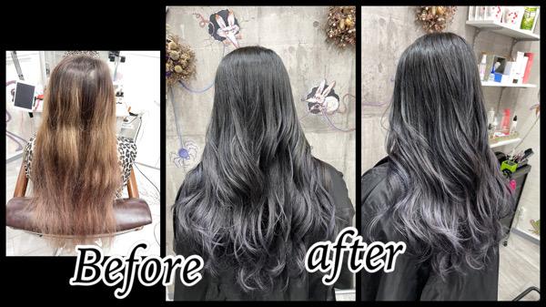 豊中でブリーチ数回ベースに濃厚なブルーラベンダーで再現する透明感カラーが綺麗!【ひろよさん】の髪